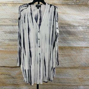 Fifteen Twenty t shirt knit cardigan duster tiedye